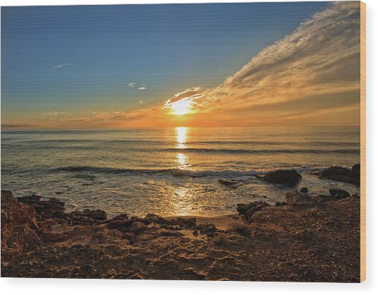 The Calm Sea In A Very Cloudy Sunset Wood Print