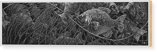 Wood Print featuring the drawing The Catch by Clint Hansen
