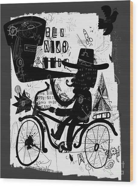 The Picture Shows A Man Who Rides A Wood Print