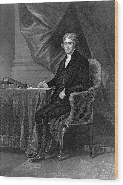 Thomas Jefferson Wood Print by Hulton Archive