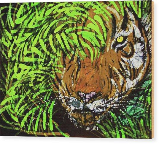 Tiger In Bamboo Wood Print