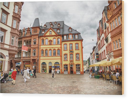 Trier, Germany,  People By Market Day Wood Print