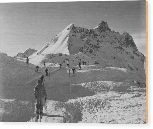 Uphill Skiers Wood Print by Bert Hardy