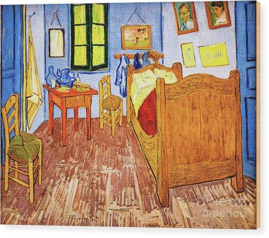 Wood Print featuring the painting Van Gogh's Bedroom by Vincent Van Gogh