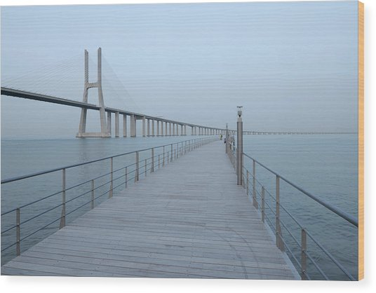 Vasco Da Gama Bridge, Tagus River Wood Print by Martin Ruegner