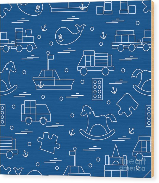 Vector Illustration Kids Toys Objects Wood Print