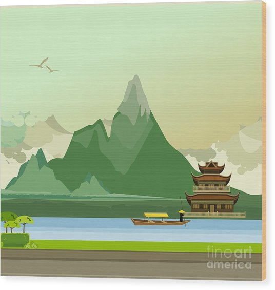 Vector Illustration Of An Old Buddhist Wood Print
