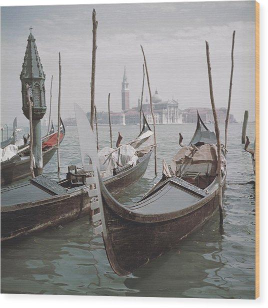 Venice Gondolas Wood Print by Slim Aarons