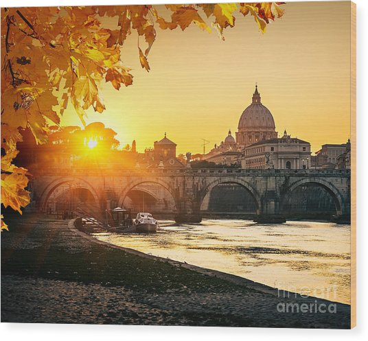 View At Tiber And St. Peters Cathedral Wood Print