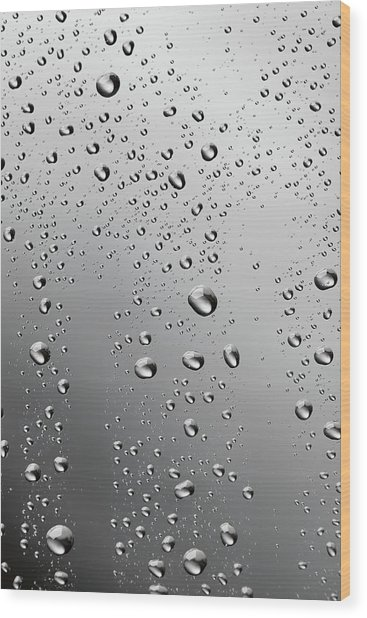 Water Drops Background Dew Condensation Wood Print by Ultramarinfoto