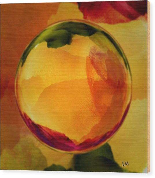 Watercolor Glass Marble  Wood Print