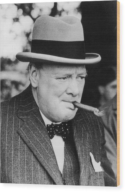 Winston Churchill Wood Print by Central Press
