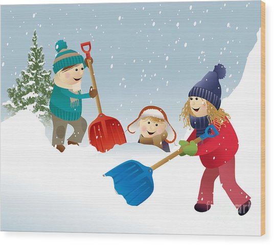 Winter Background With Playing Kids Wood Print