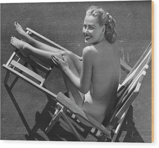 Woman In Beach Chair Wood Print by George Marks
