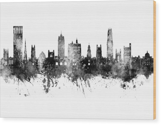 Yale Connecticut Skyline Wood Print