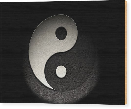 Wood Print featuring the photograph Yin Yang Symbol Leather Texture by Brian Carson