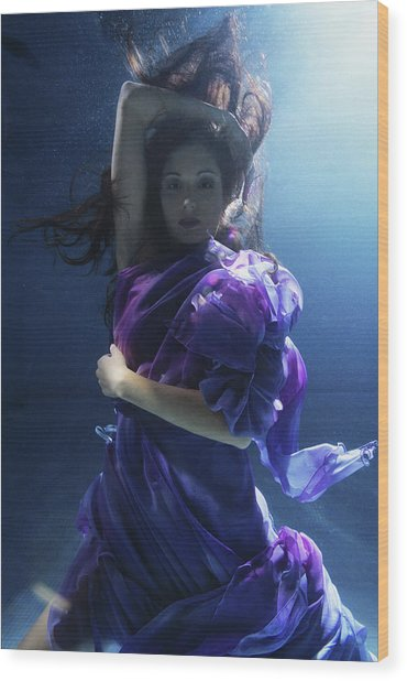Young Woman Wrapped In Silk, Underwater Wood Print