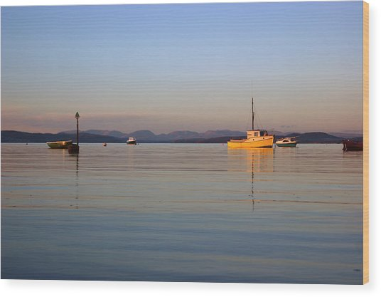 10/11/13 Morecambe. Fishing Boats Moored In The Bay. Wood Print
