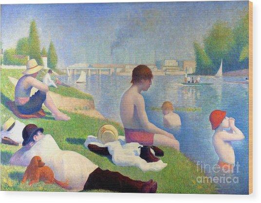 Bathers At Asnieres Wood Print