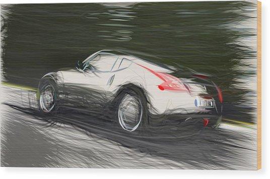 Nissan 370z Draw Wood Print