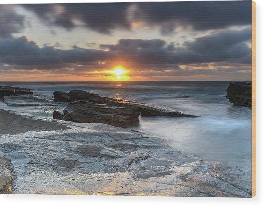A Moody Sunrise Seascape Wood Print