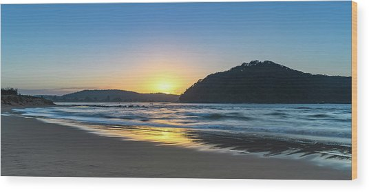 Hazy Sunrise Seascape Wood Print