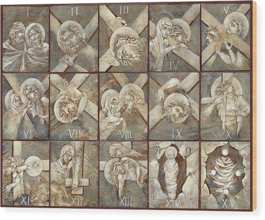 15 Stations Of The Cross Wood Print