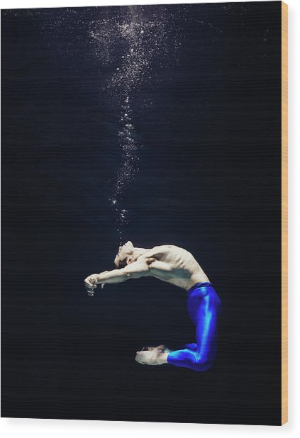 Ballet Dancer Underwater Wood Print by Henrik Sorensen