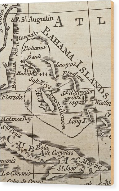 1776 Map Of Caribbean West Indies Wood Print by Historic Map Works Llc