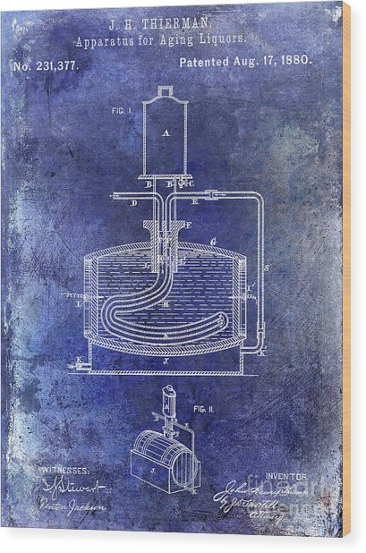 1880 Liquor Aging Patent Blue Wood Print