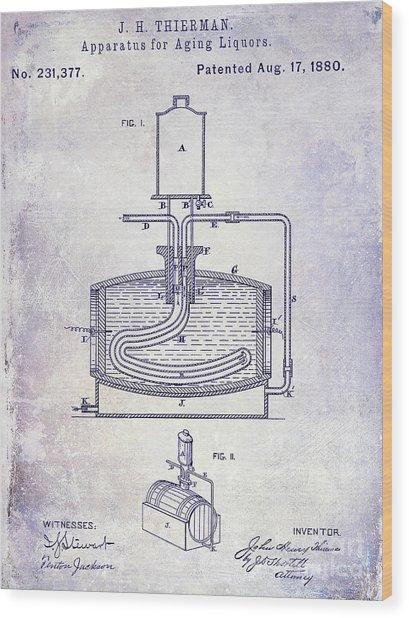 1880 Liquor Aging Patent Blueprint Wood Print