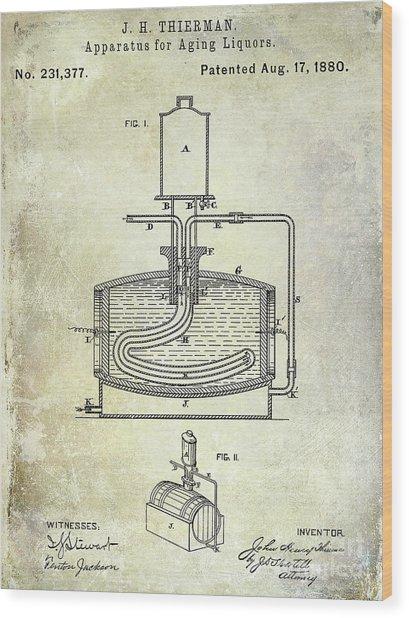 1880 Liquor Aging Patent Wood Print