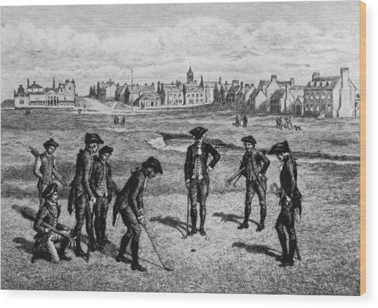 18th Century Golfers Wood Print by Hulton Archive