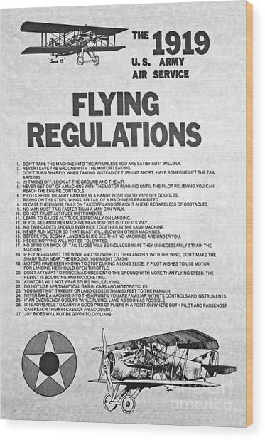 1919 Flying Regulations Poster Wood Print