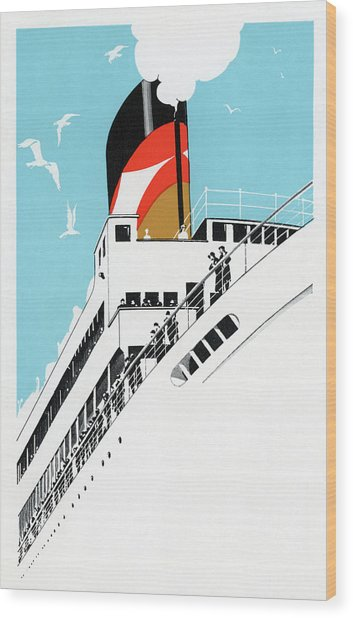 1920s Cruise Ship Wood Print by Graphicaartis