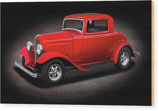1932 Ford 3 Window Coupe  - 1932fordthreewindowcpespttext186144 Wood Print