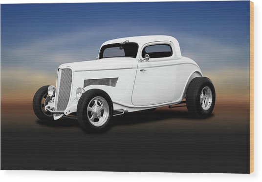 1933 Ford 3 Window Coupe   -  1933ford3windowcoupewhite196599 Wood Print by Frank J Benz