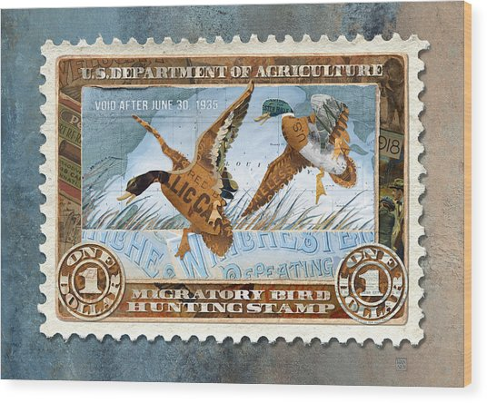 Wood Print featuring the mixed media 1934 Hunting Stamp Collage by Clint Hansen