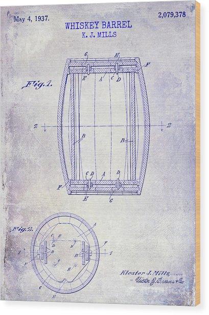 1937 Whiskey Barrel Patent Blueprint Wood Print