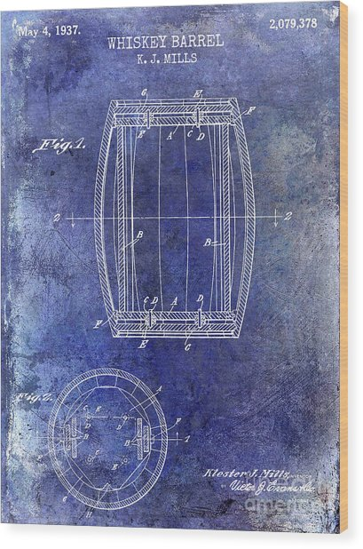 1937 Whiskey Barrel Patent Wood Print