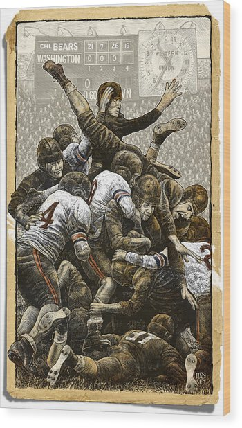 Wood Print featuring the drawing 1940 Chicago Bears by Clint Hansen