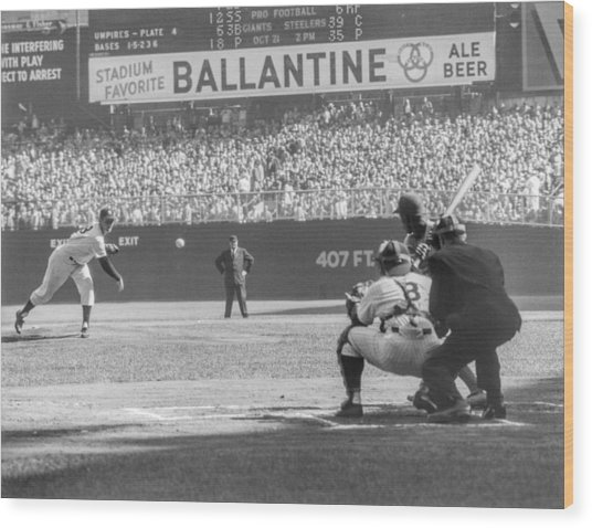 1956 World Series - Game 5  Brooklyn Wood Print by The Stanley Weston Archive