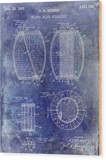 1962 Whiskey Aging Patent Blue Wood Print