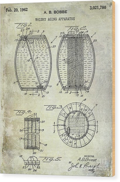 1962 Whiskey Aging Patent Wood Print