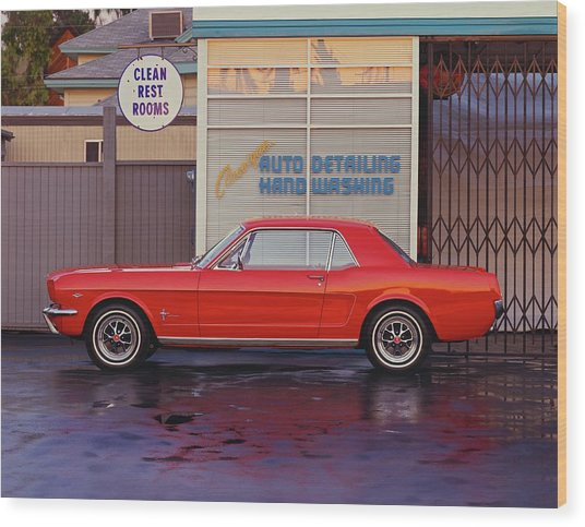1964 12 Ford Mustang Coupe At Billys Wood Print by Car Culture
