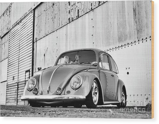 1966 Custom Beetle Monochrome Wood Print