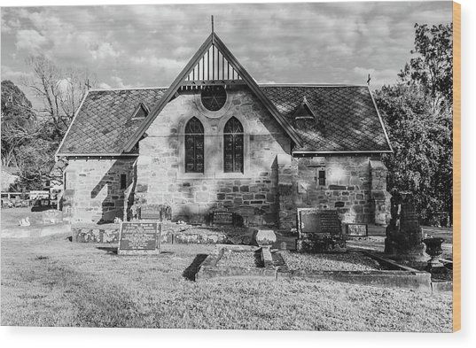 19th Century Sandstone Church In Black And White Wood Print