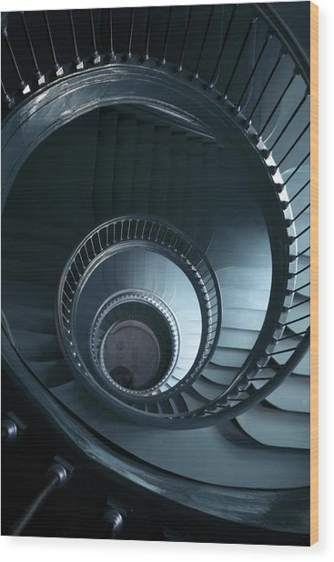 Blue Spiral Staircase Wood Print