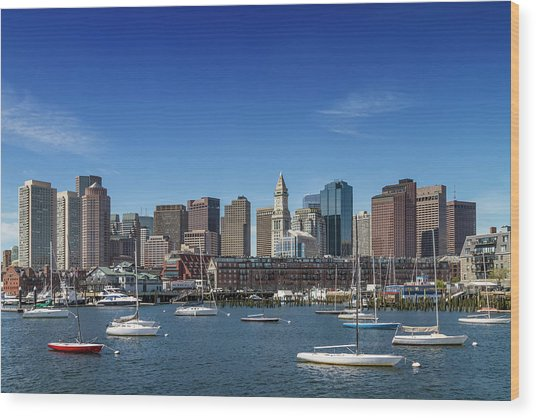 Boston Skyline North End And Financial District Wood Print by Melanie Viola