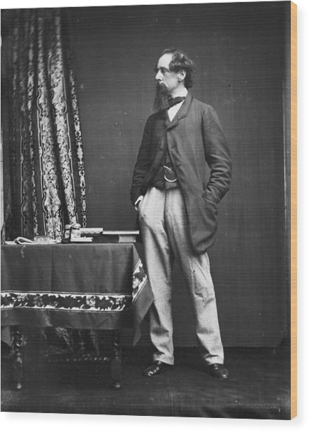 Charles Dickens Wood Print by Hulton Archive